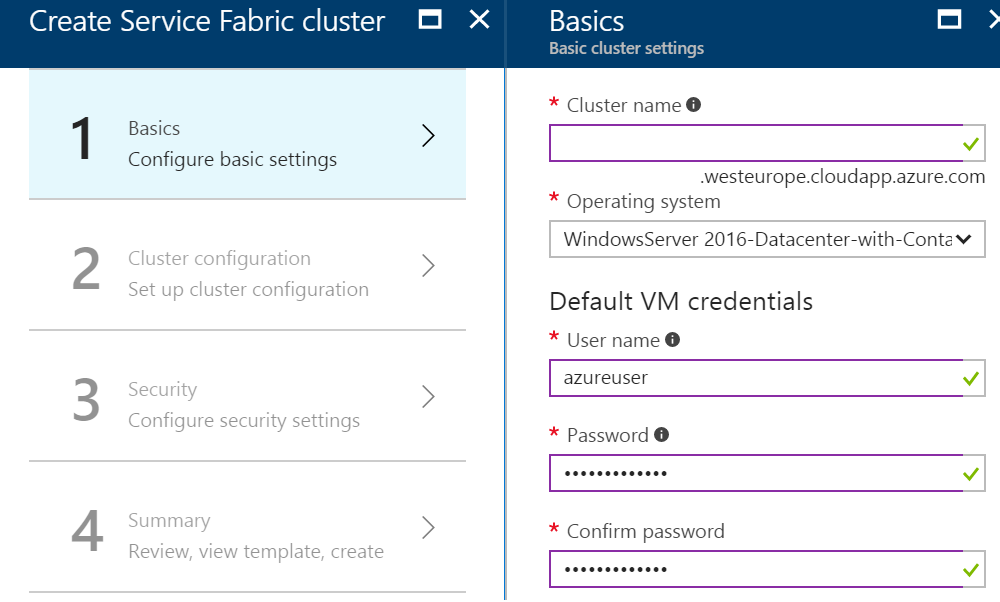 Step 1 Create Service Fabric Cluster